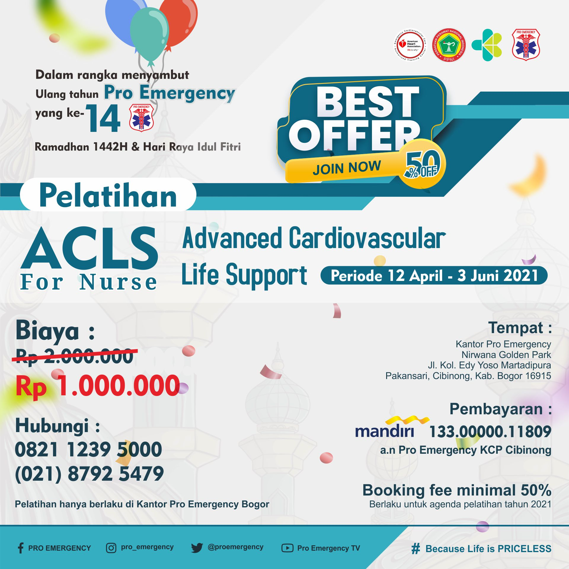 [SPECIAL PRICE] PELATIHAN ACLS APRIL - JUNI 2021 PRO EMERGENCY BOGOR